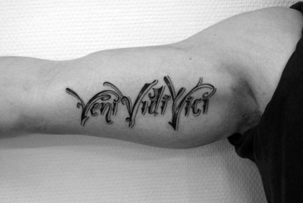 Male Bicep Veni Vidi Vici Tattoos
