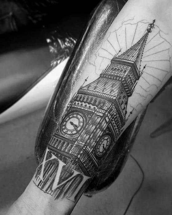 Male Big Ben Tattoo Design Inspiration