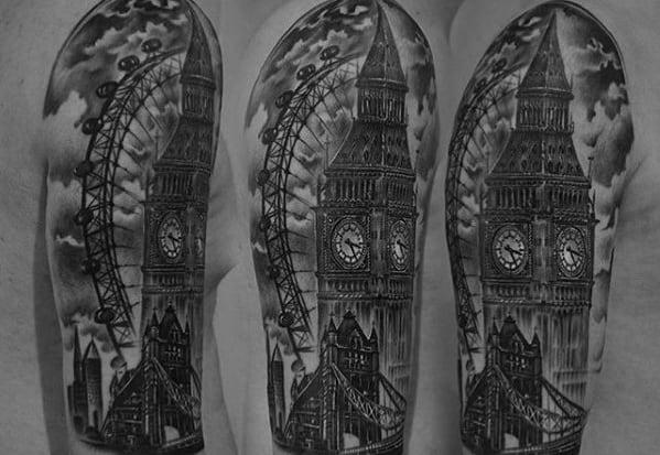 Male Big Ben Themed Half Sleeve Tattoo Ideas