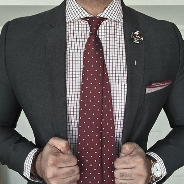 Male Black Suit Clothing Styles With Red Color Theme And Tie