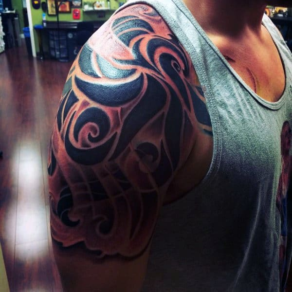 Male Black Swirly Pattern Quarter Sleeve Tattoo