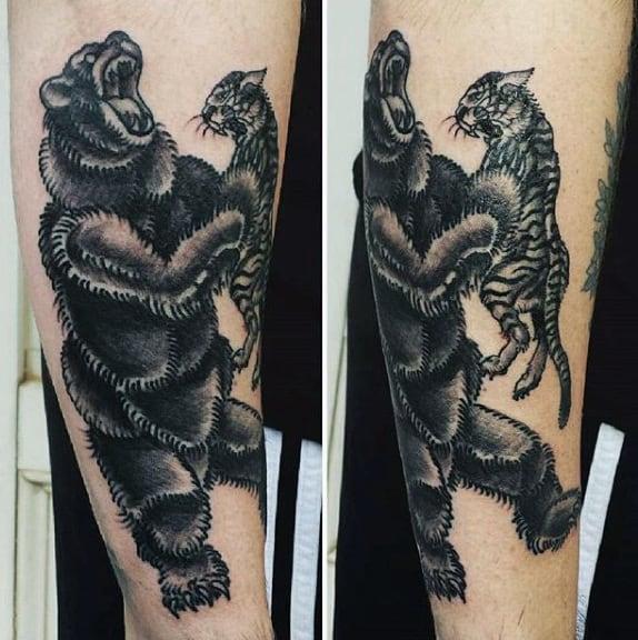 Male Black Tiger Tattoo