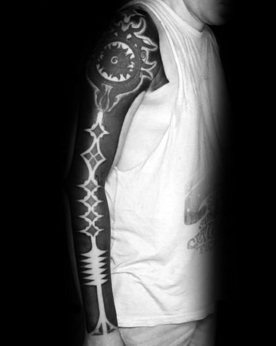 Male Blackout Sleeve Tattoo Ideas