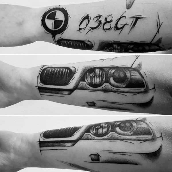 Male Bmw Themed Tattoo Inspiration On Outer Forearm