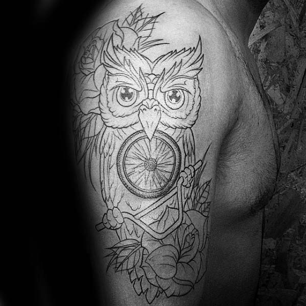 Male Bmx Owl With Handlebars Arm Tattoo With Old School Design