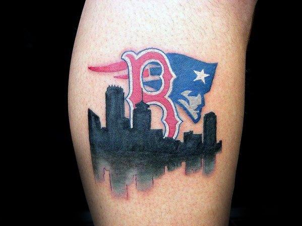 Male Boston Red Sox Tattoo Leg Calf With Black Ink City Skyline