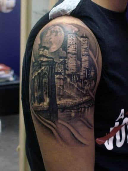 Male Brooklyn Bridge Upper Arm Tattoo