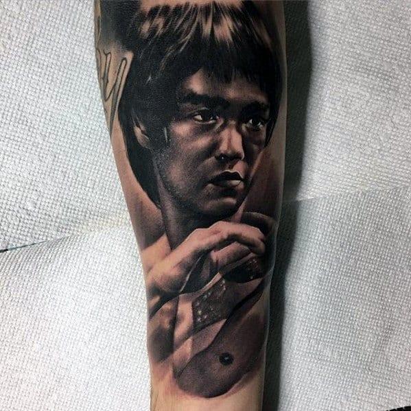 Male Bruce Lee Forearm Sleeve Tattoo Ideas