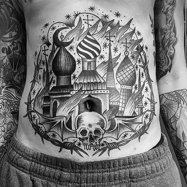Male Burning Church Tattoo Ideas
