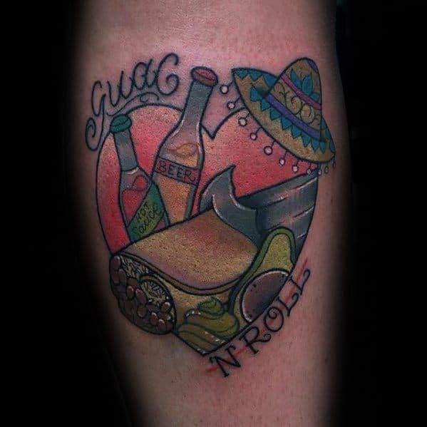 Male Burrito Heart Leg Calf Tattoo Ideas