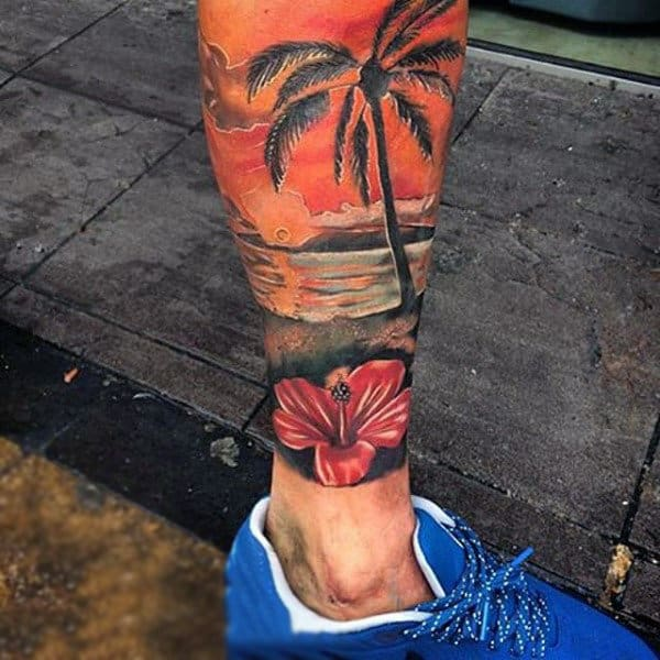 Male Calf Sunset Tattoo With Palm Tree And Ocean