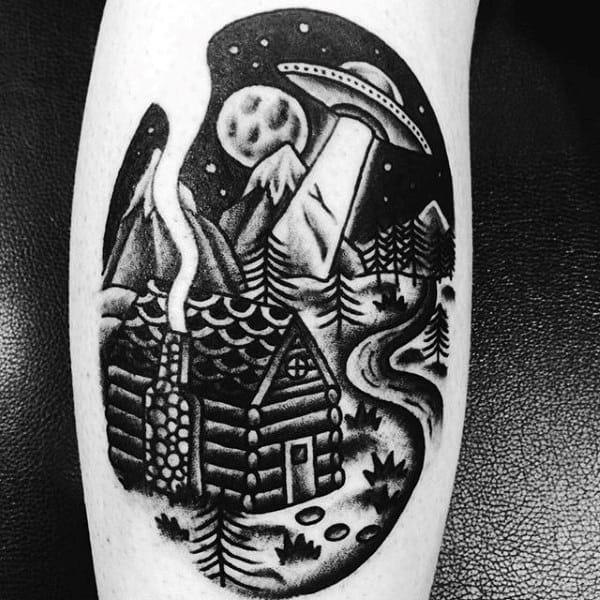 Male Calves Amazing Ufo Over Cozy House Tattoo