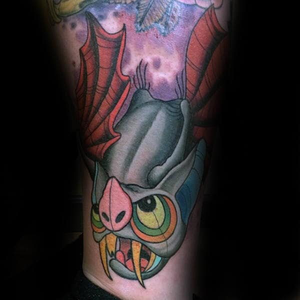 Male Calves Bat Winged Beast Tattoo New School