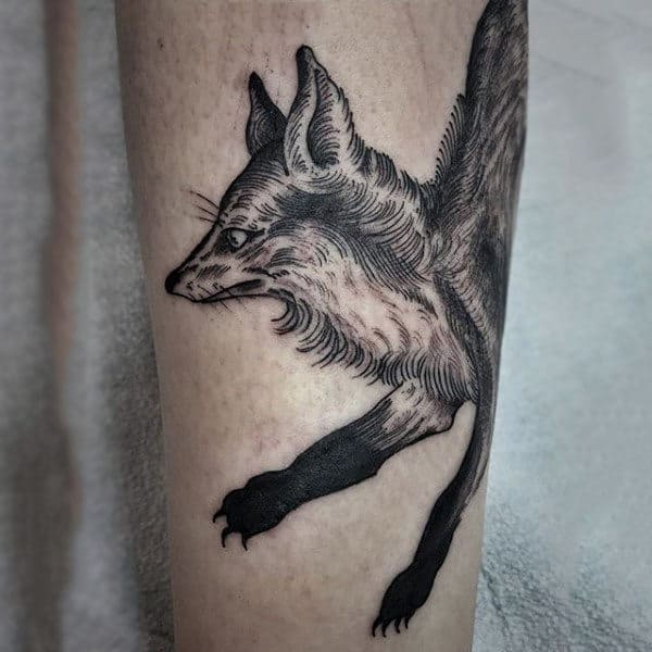 Male Calves Black Haired Fox Tattoo