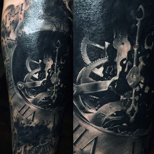 Male Calves Black Inner Clockwork Realism Tattoo