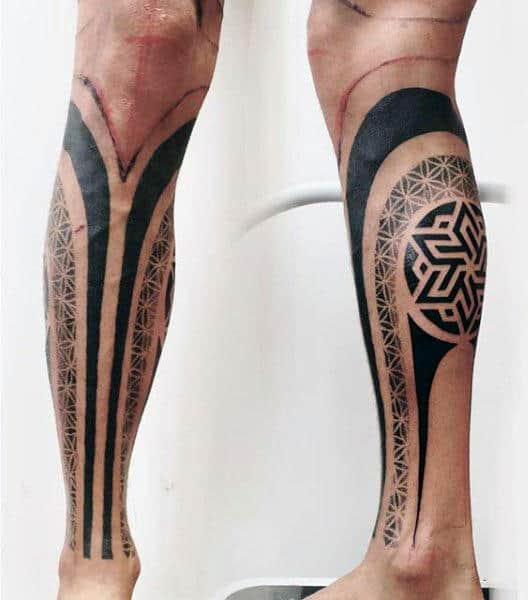 Male Calves Pattern Tattoo