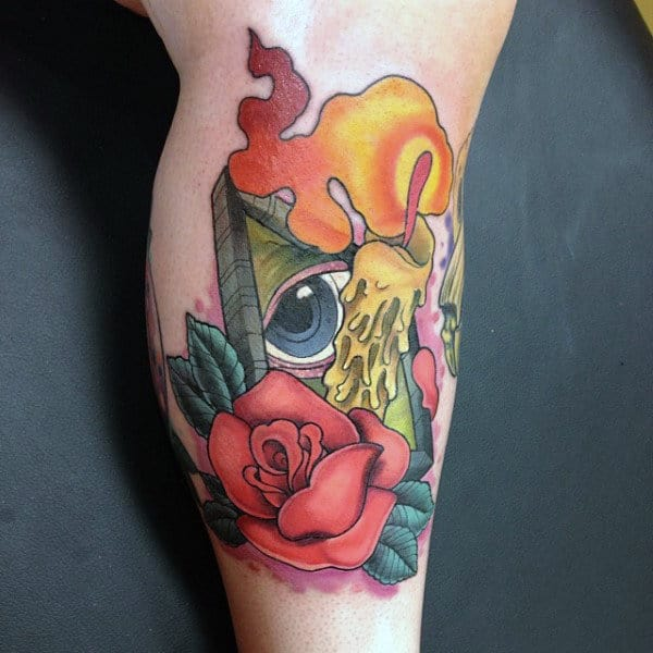Male Calves Rose And Candle New School Tattoo