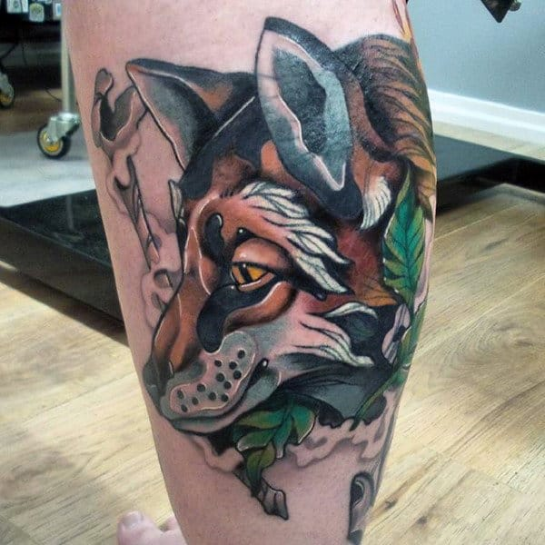 Male Calves Spectacular Fox Tattoo