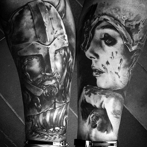 Male Calves Warrior And Lover Tattoo