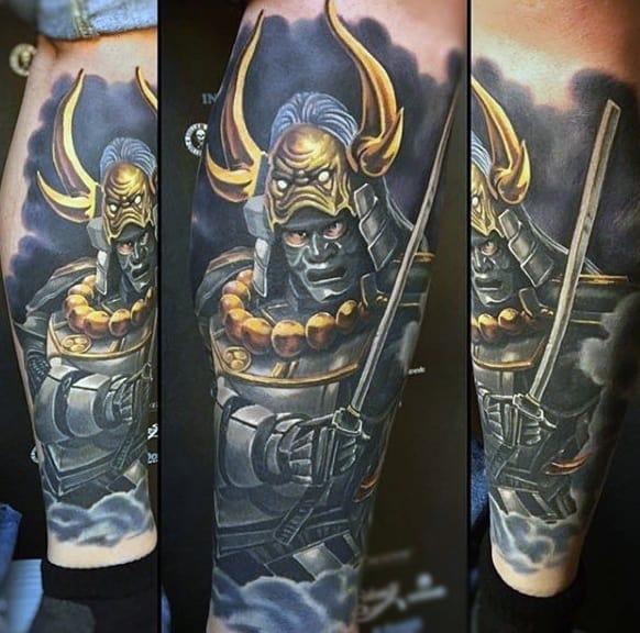 Male Calves Warrior With Golden Horned Helmet Tattoo