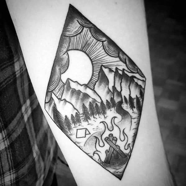 Male Camping Small Forearm Tattoo Design Inspiration