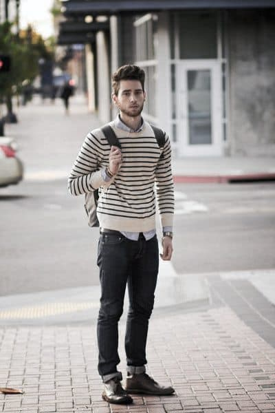 Male Casual Wear Clothing Styles Striped Sweater With Jeans