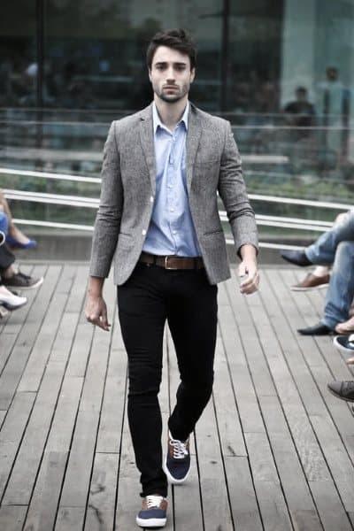 Male Casual Wear Styles Blue Dress Shirt Dark Blue Jeans