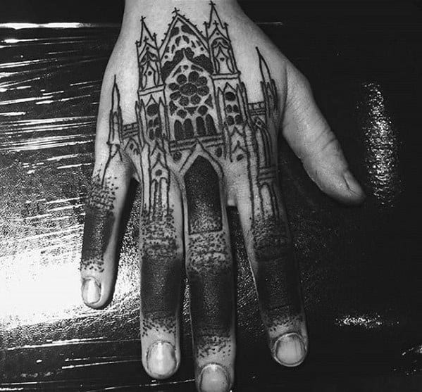 Male Cathedral Tattoo Design Inspiration