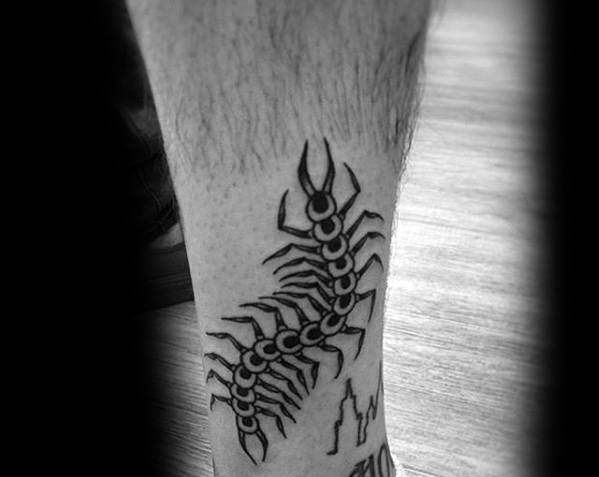 Male Centipede Tattoo Ideas On Lower Leg