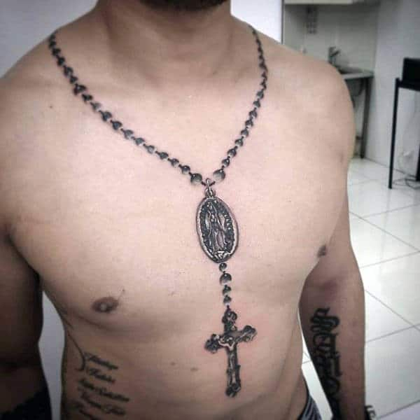 Male Chain With Cross Pendant Religious Tattoo