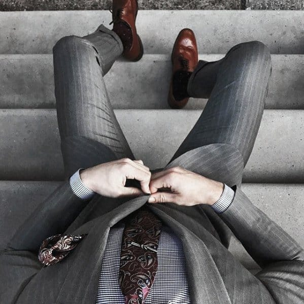 Male Charcoal Grey Suit Brown Shoes Clothing Styles