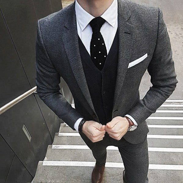 Male Charcoal Grey Suit Brown Shoes Styles