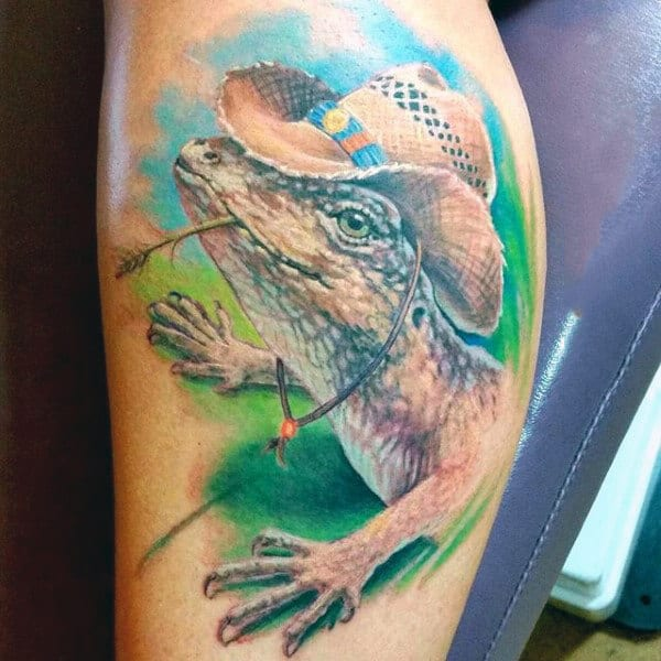 Male Charming Lizard With Hat Tattoo