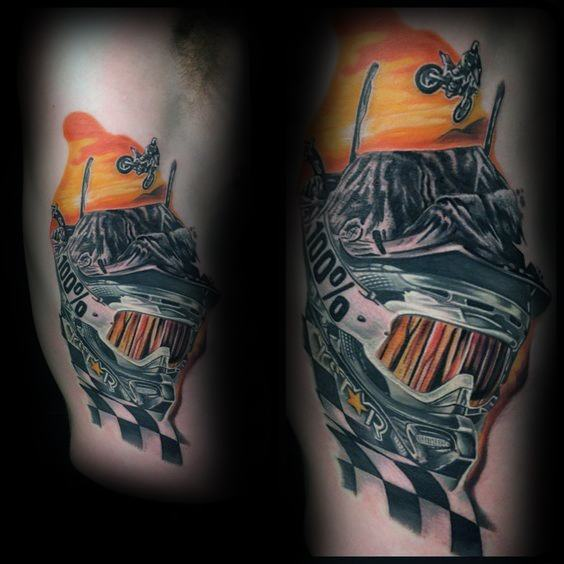 Male Checkered Flag Themed Tattoo Inspiration
