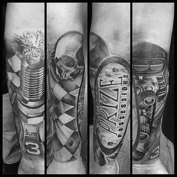 Male Checkered Flag Themed Tattoos