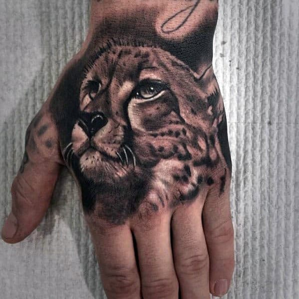 Male Cheetah Hand Tattoo Ideas