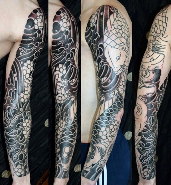 Male Cherry Blossom Black Ink Full Sleeve Japanese Tattoo Deisng Ideas