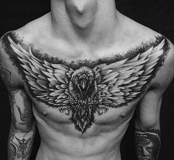 Male Chest Bird Game Of Thrones Tattoo Design Ideas