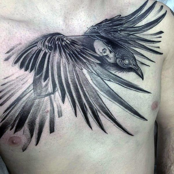 Male Chest Black And Grey Angry Raven Tattoo