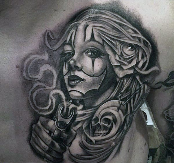 Male Chest Black And Grey Lady With Eyeball In Hair And Skull Tattoo