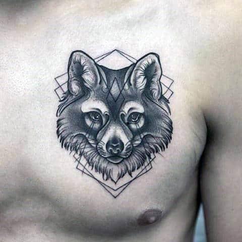 Male Chest Blackwork Fox Head Tattoo