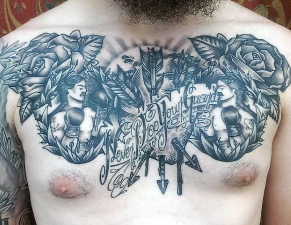 Male Chest Boxing Tattoos Designs