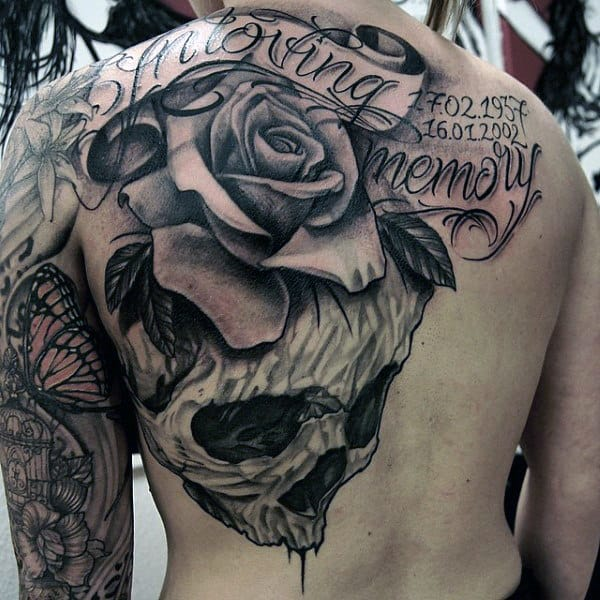 Male Chest Cool Rose And Skull Tattoo With Wordings
