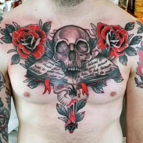Male Chest Fantastic Red Roses Skull And Open Book Tattoo