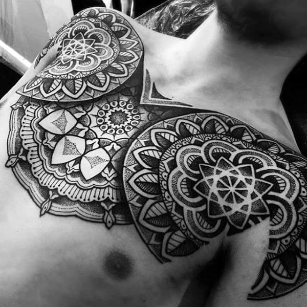 Male Chest Gorgeous Pattern Tattoo