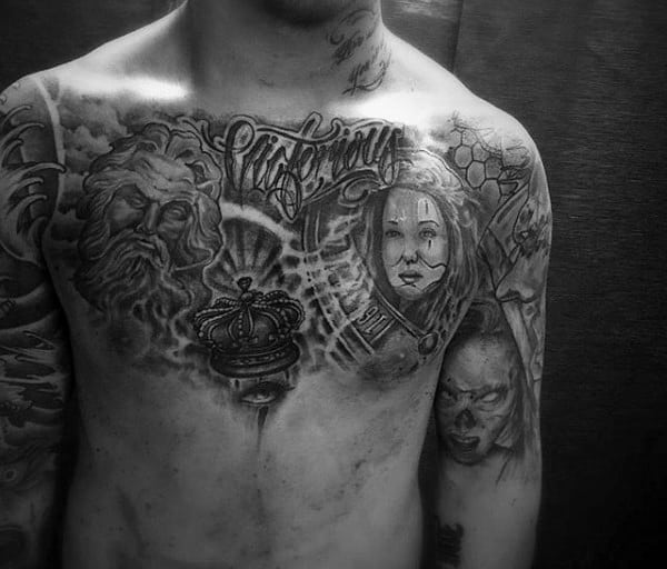 Male Chest Impressive Black And White Crown Tattoo