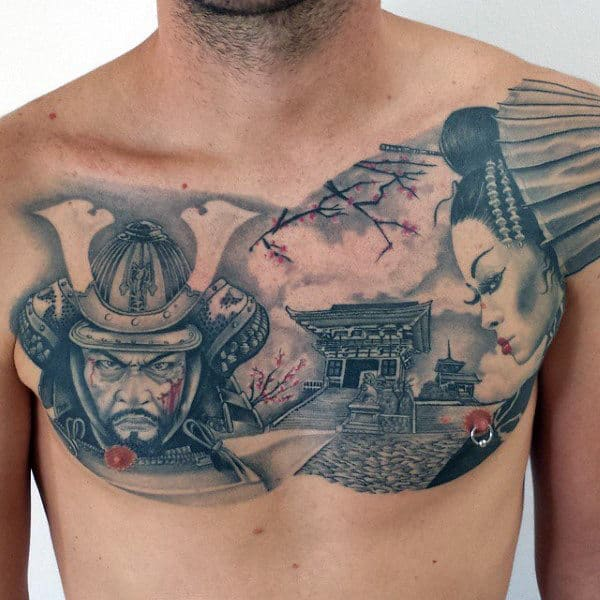 Male Chest Interesting Grey Oriental Romance Tattoo