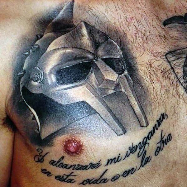 Male Chest Interesting Mask Tattoo