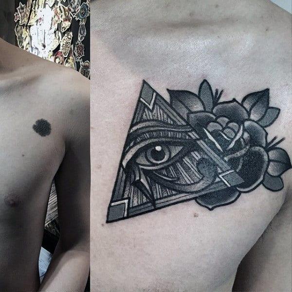 Male Chest Little Illuminati Tattoo