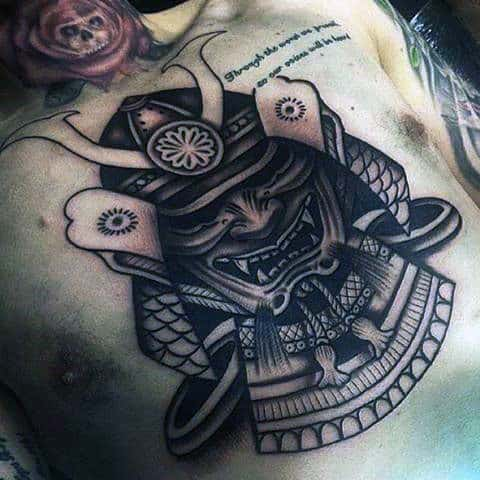 Male Chest Manly Ancient Leader Tattoo